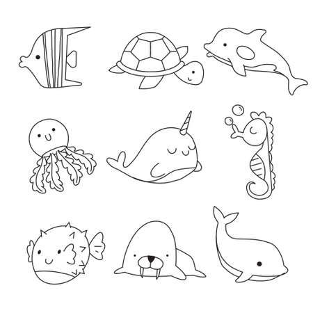 Vector doodle set of sea elements isolated on white background. Sea animals coloring page for kids.