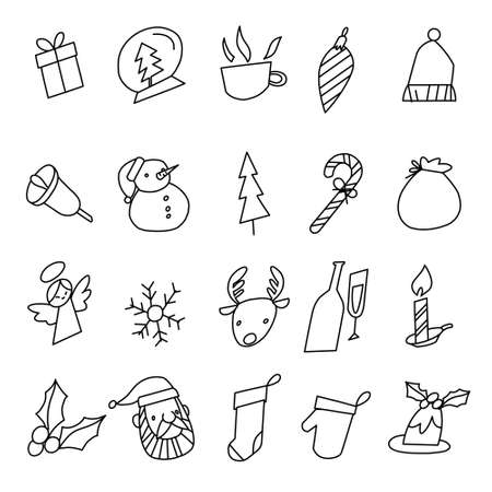 Set of Christmas doodle. Vector illustration