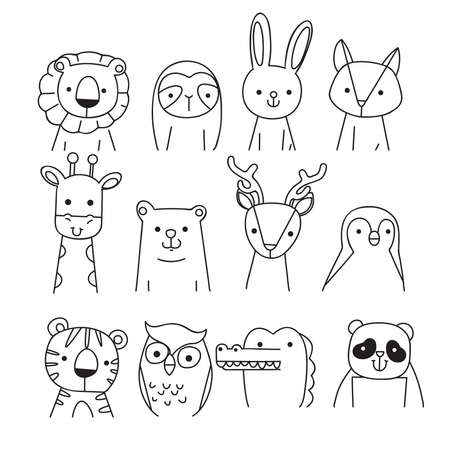 Hand drawn portrait of a cute funny  animals. Isolated objects on white background. Line drawing. Vector illustration. Design concept for children print.