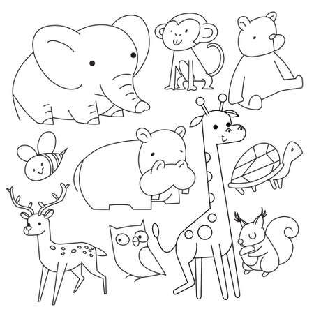 Vector linear drawing, set of cute children's illustrations animals. Vector illustration.