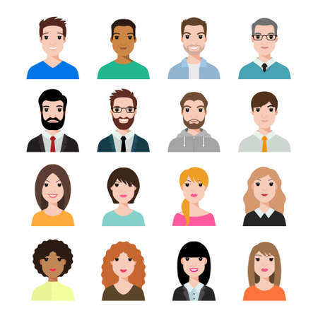 People icons set avatar profile diverse faces (use for social network) . Vector illustration of flat design people characters.