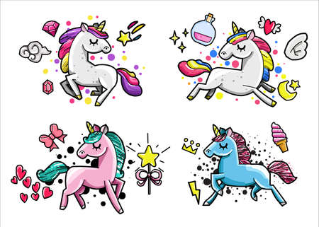 Cute unicorn doodle collection with magic items, rainbow, fairy wings, crystals, clouds, potion. Hand drawn line style. Vector doodles illustrations