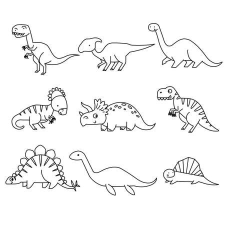 Set of cartoon dinosaurs. Cute dino. Black and white vector illustration for coloring book Иллюстрация