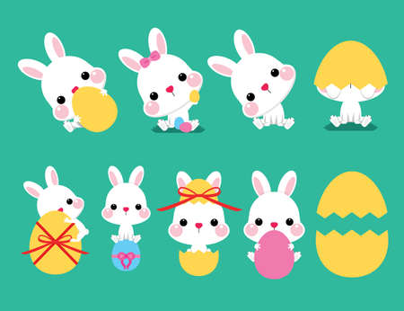 Collection of Easter bunny and egg, vector illustration. Easter cartoon bunny isolated on green background. Иллюстрация