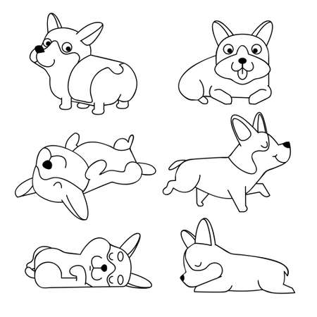 Cute cartoon character Corgi dog. Vector corgi puppy on a white background isolated. Page for coloring book. Coloring book for children's creativity.