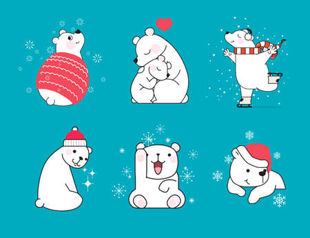 Set of hand drawn little polar bears in different poses on blue background with snowflakes. Christmas concept. Vector illustration.