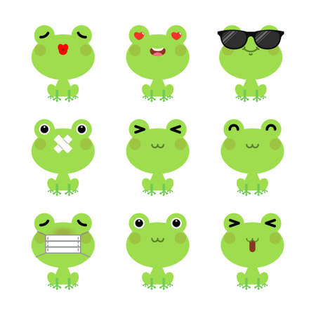 Set of cute cartoon green frog emoji set isolated on white background. Vector Illustration.
