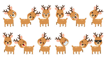 Set of expression of emotions of funny reindeer for Christmas decoration set isolated on white background. Vector Illustration.