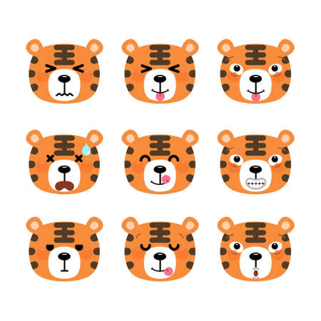 Set of cute cartoon tiger emoji set isolated on white background. Vector Illustration.