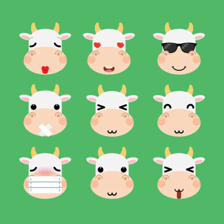 Set of cute cartoon cow emoji set isolated on white background. Vector Illustration.