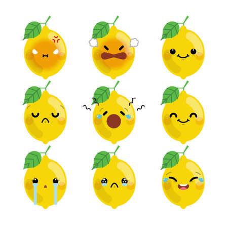 Set of cute cartoon lemon emoji set isolated on white background. Vector Illustration.