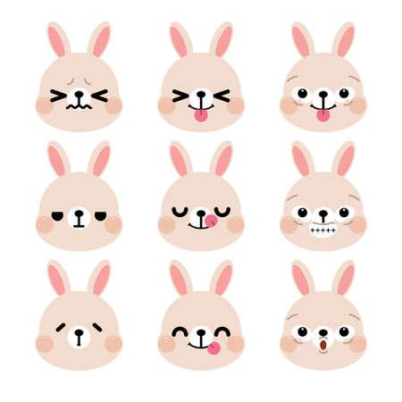 Set of cute cartoon rabbit emoji set isolated on white background. Vector Illustration.