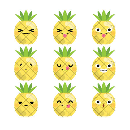 Set of cute cartoon pineapple emoji set isolated on white background. Vector Illustration.