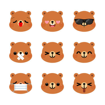 Set of cute cartoon bear emoji set isolated on white background. Vector Illustration.