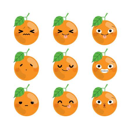 Set of cute cartoon orange emoji set isolated on white background. Vector Illustration. Ilustrace