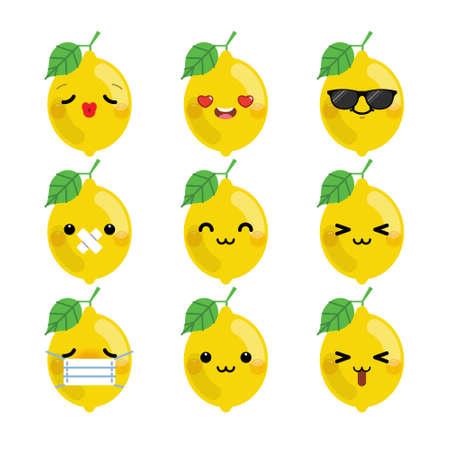 Set of cute cartoon lemon emoji set isolated on white background. Vector Illustration. Vetores