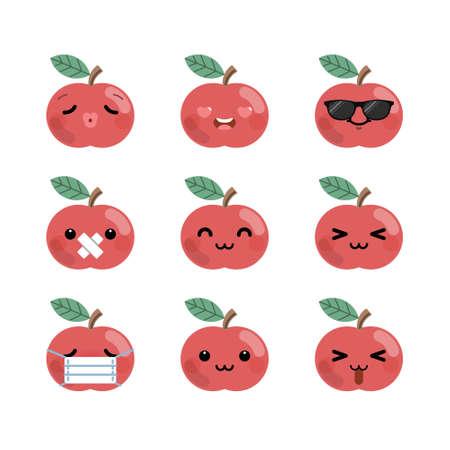 Set of cute cartoon apple emoji set isolated on white background. Vector Illustration.