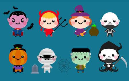 Happy Halloween. Halloween cute character monster set. Halloween Party costume kids. Vector illustration Ilustrace