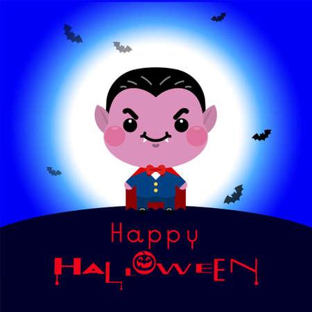 Halloween cartoon Count Dracula. Vector illustration Ilustrace