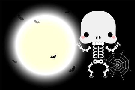 Halloween cute little skeleton character. Vector illustration
