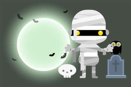 Halloween cartoon mummy character. Vector illustration Ilustrace