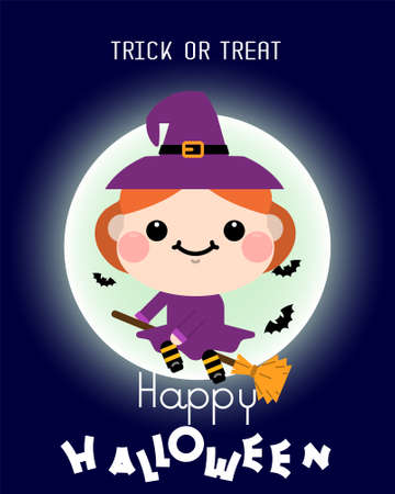 Halloween cartoon Witch on broomstick character. Vector illustration
