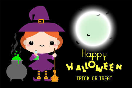 Halloween cartoon Witch with broomstick character. Vector illustration