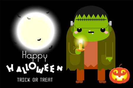 Halloween green Frankenstein character. Vector illustration Ilustrace