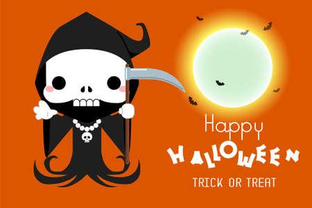 Halloween Cute cartoon grim reaper character. Vector illustration