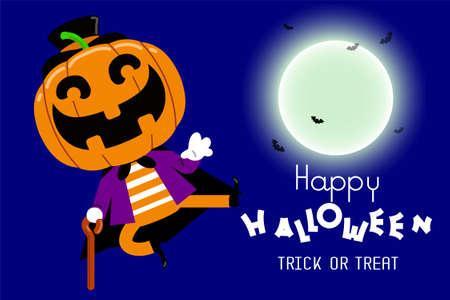 Halloween cute little pumpkin character. Vector illustration Ilustrace
