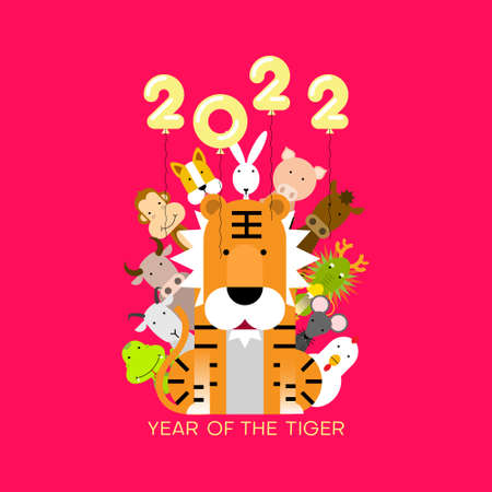 Happy Chinese lunar new year 2022, Year of tiger with Chinese zodiac sign animals. Vector illustration.