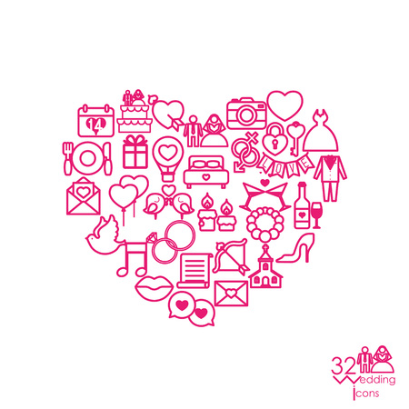 Love icon objects in the heart sign shape. Vector illustration