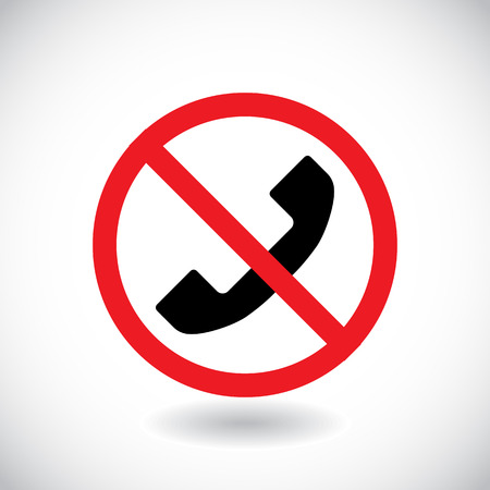No phone, telephone, cellphone and smartphone prohibited symbol. Sign indicating the prohibition or rule. Warning and forbidden. Flat design. Vector illustration Illustration