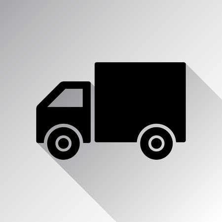 Shipping delivery truck flat icon for apps and websites Vector illustration