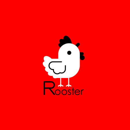 White Rooster on red background. Vector illustration