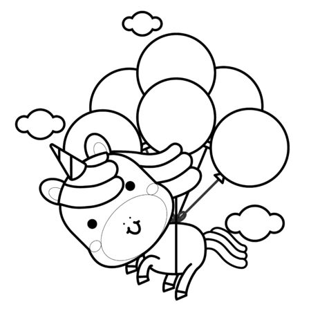 Cute magical unicorn flies with balloons on the clouds. Black and white vector illustration for coloring book