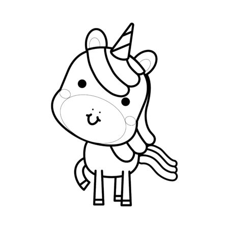Cute magical unicorn. Black and white vector illustration for coloring book
