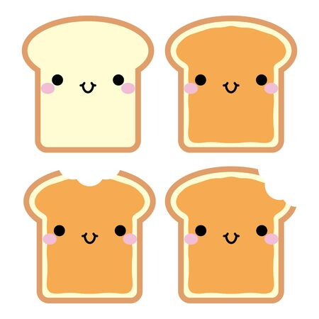 Cute cartoon toasts with peanut butter. In kawaii style with smiling face and pink cheeks. The expression of emotions for design, art work, design cards and web pages. Vector illustration