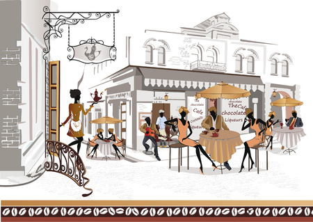 Series of street cafes in the city with people drinking coffee