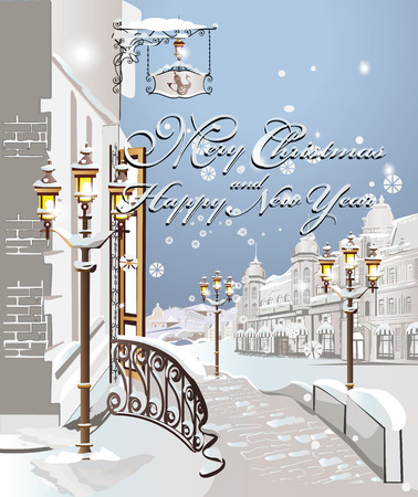 Winter on the streets of the old city, Christmas card Vector