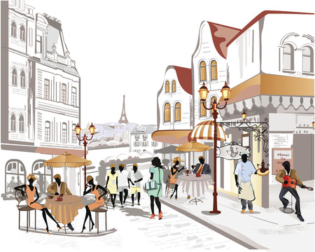 cafe table: Series of the streets with people in the old city Illustration