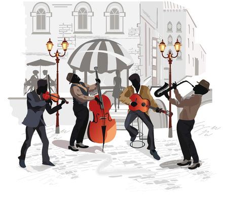 saxofón: Músicos de la calle con un saxofón, un contrabajo, una guitarra, un violín en el fondo de un café de la calle Vectores