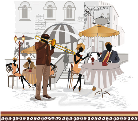 restaurant exterior: Series of street cafes in the city with musicians
