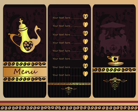 coffeepot: Cafe menu design with a coffeepot and silhouettes of people drinking coffee