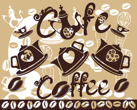 coffeepot: Set of creative coffeepot, teapot, cups, coffee signs, coffee background Illustration