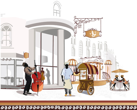 Series of street cafes in the city with musicians Vector