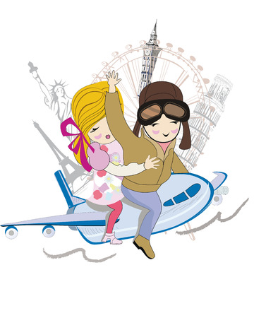 Sketch of romantic couple traveling by air to the sights, cartoon boy and girl