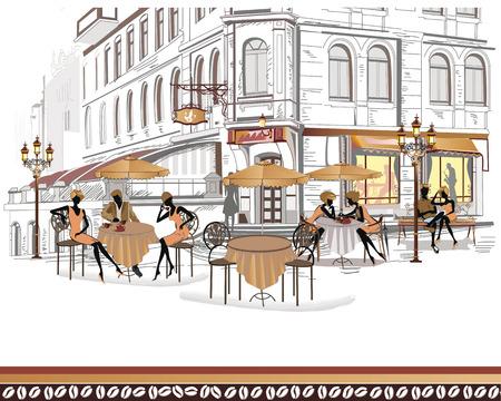 personas tomando cafe: Serie de caf�s de la calle en la ciudad con gente bebiendo caf� Vectores