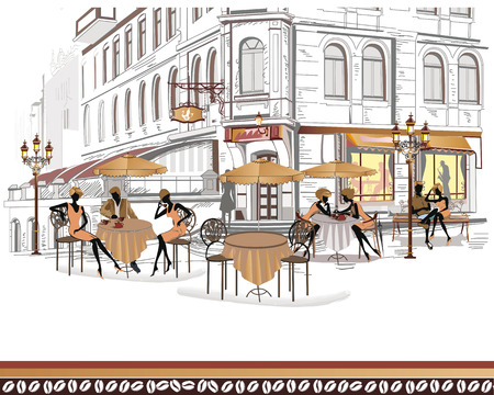 Series of street cafes in the city with people drinking coffee Vector