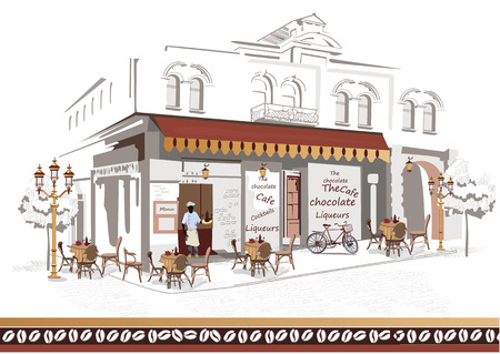 cafe table: Series of sketches of beautiful old city views with cafes